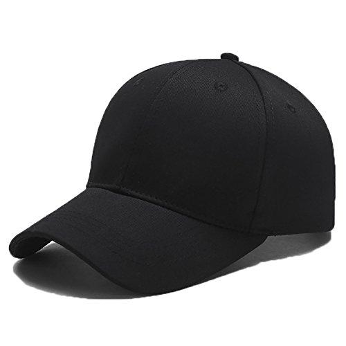 Yidarton Unisex Kappe Outdoor Baseball Cap Verstellbar Erwachsenen Mütze Casual Cool Mode Baseballmütze Hip Hop Flat Hüte (Schwarz)