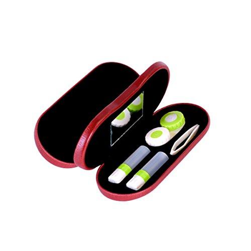 ROSENICE Kontaktlinsen Fall 2 in 1 Brillen und Kontaktlinsengehäuse Doppelter Gebrauch Tragbar Für Home Travel Kit(rot)