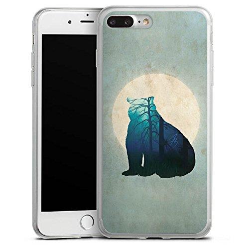 Apple iPhone 8 Plus Slim Case Silikon Hülle Schutzhülle Bär Mond Muster Silikon Slim Case transparent