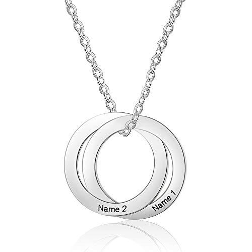 XiXi Namenskette Silber Mutter Tochter Kette mit Gravur 2 Namen Anhänger Halskette Damen Personalisierte Schmuck Geschenk für Geburtstag Muttertag Weihnachten