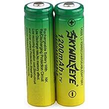 Malloom 2pcs 3.7V 1200mAh 14500 AA Li-ion Recargable Batería Para linterna antorcha