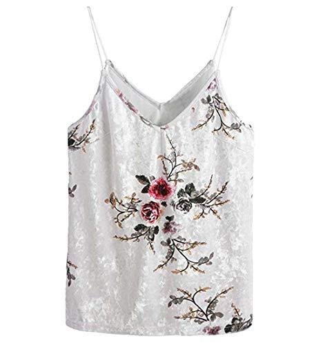 HEATLE Damen Mode Ärmellos lässig Basic Strappy Velvet V-Ausschnitt Tank Top Crop Shirt(Mehrfarbig,L)