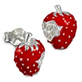 Tee-Wee Kinder Ohrring Erdbeere rot mit weißen Zirkonias 925 Sterling Silber Kinderohrstecker Kinderschmuck SDO8115R
