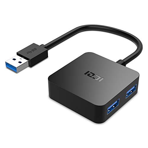 USB 3.0 HUB,ICZI Mini Quadrat USB 3.0 Hub, Extra Leicht 4 Port USB 3.0 Datenhub für Windows Laptop und Andere USB 3.0 Kompatibel Geräten Mini-usb-port