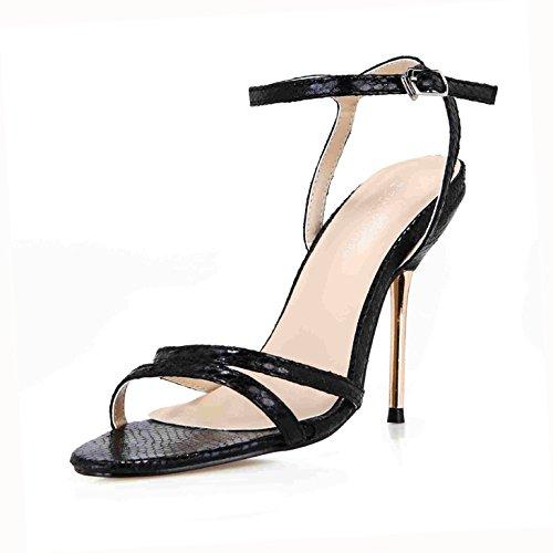 ZHZNVX Sandalen Frauen Sommer Neue Minimalistische Sexy interessant und Veranstaltungsräume mit Eisen Frau Schuhe, Gürtel und Schuhe, die Gitter Waren, 39, Schwarz Snakeskin (Einfach Eine Frau-eisen -)