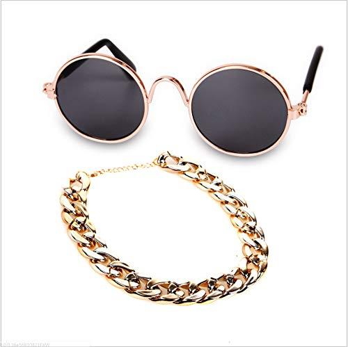 NIJY Pet Modeschmuck Sonnenbrille Retro Strohhut Hund Gold Halskette Glocke Kragen Katze Krawatte 2-Teiliges Set