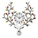 DOSNVG Kreative Hirsche im Nordic-Stil Head Wall Uhr, American Personality Fashion Mute Wall Uhr Für Wohnzimmer-Home,A,59x64cm(23x25inch)