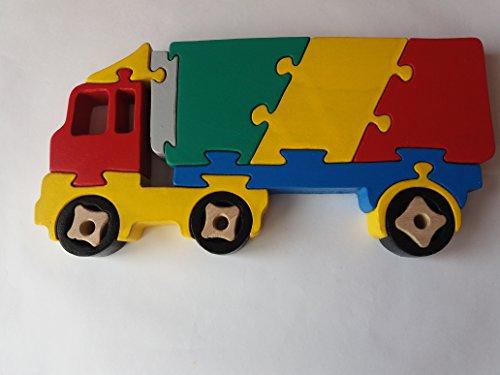 Holzpuzzle LKW handgemachte Fracht Carrier europäischen LKW Frachter Maschine Spielzeug Nutzfahrzeug Geschenk für Jungen aus Holz Autoträger Buche Holz