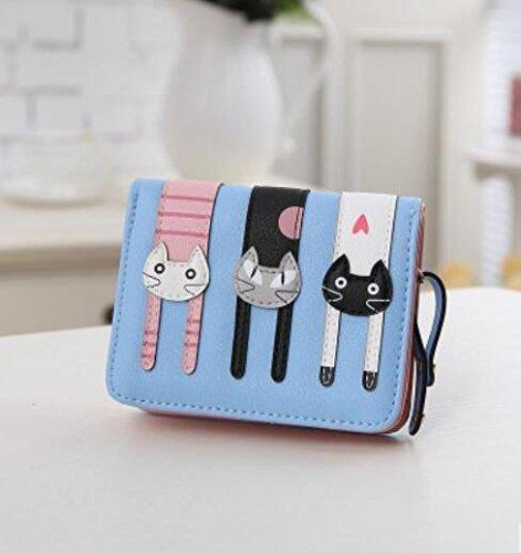 Preisvergleich Produktbild Coface Frauen-nette Katze Wallet Bifold Lange Geldbörse mit Reißverschluss