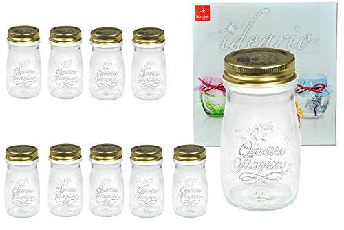 Lot de 10Quattro Stagioni Bouteille 0,20l avec livret de recettes Bormioli-Comme jus Smoothie boissons Biberon, pour décoration ou Bocaux à Conserve Verre Bocal en verre