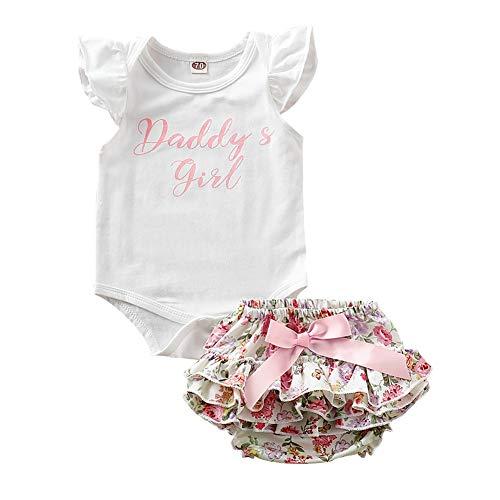 Miyanuby infant baby abbigliamento infantile per neonati flare sleeve stampa di lettere pagliaccetti + pantaloncini floreali pantaloni in pp tuta da neonato