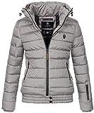 Marikoo Damen Winter Jacke Stepp Winterjacke Stehkragen gefüttert warm B667 [B667-Poiso-Grau-Gr.M]