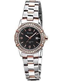Accurist Women's Quartz Watch with Black Dial Analogue Display and Multicolour Stainless Steel Plated Bracelet LB1546B