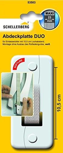 Schellenberg 53503 Abdeckplatte DUO für Unterputz-Gurtwickler | System Maxi: Rolladengurte bis 23 mm Breite | Lochabstand: 105 mm | einfache Montage ohne Ausbau des Rolladen-Gurtbandes