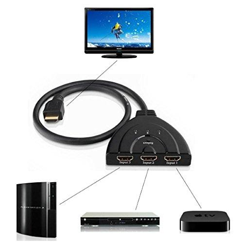 Fenrad® HDMI-Umschalter, 3 Eingänge, 1080 P, Trennschalter, HUB- Box, DVD, HDTV, STB