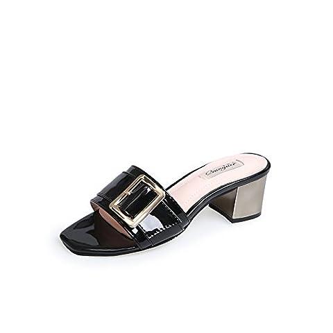 lady,summer,square head,rough avec,a-ligne chausson/open toe,high heels,sandales de plage-A Longueur du pied=21.8CM(8.6Inch)