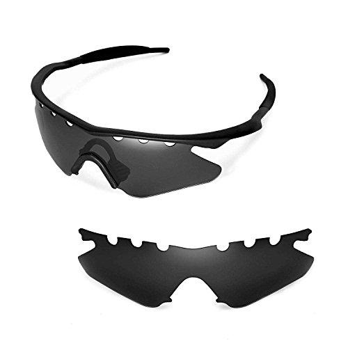 Walleva Belüftete Ersatzgläser oder Gläser mit schwarzem Nasenpad für Oakley M Frame Heater Sonnenbrillen - 21 Optionen erhältlich, Herren, Black - Non Polarized