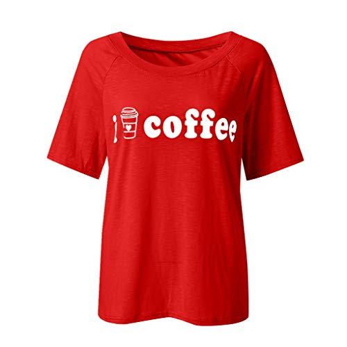 T-Shirt Kurzarm Rundkragen Liebe Drucken Einfarbig Frauen Casual Tops Bluse Oberteil Modisch Basic Top(A7-rot,EU-38/CN-M) ()