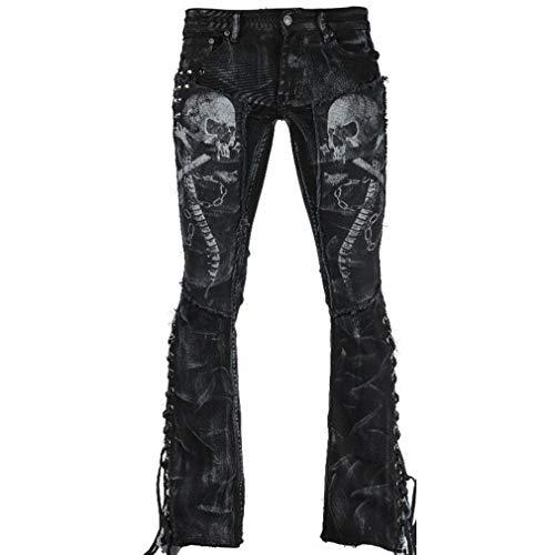 Hibote Jeans Mujer Pantalones Gótico Vaqueros de Cintura Alta elástico Pantalones Push up Casual Mezclilla Pantalones con Bolsillos S-3XL