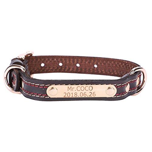 ITODA Leder Halsband für Haustiere mit Gravur Nach -