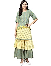 Ishin Women Green & Yellow Viscose Rayon Printed Palazzo Kurta Set