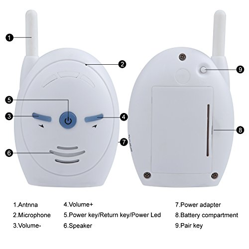Discoball 2.4GHz Portable Digital Wireless Transmission Voice Baby Monitor Audio with Two-Way Talk Back Feature Infant Signal Function and Vox Function  Discoball