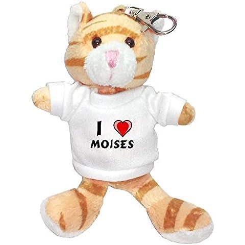 Gato marrón de peluche (llavero) con Amo Moises en la camiseta (nombre de pila/apellido/apodo)