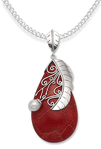 Sterling Silver Sponge Coral Pendant with Freshwater Pearl on 16
