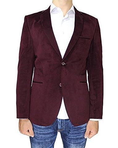 Robin London - Burgundy Slim Fit Mens Velvet Blazer with Neck Detail (36
