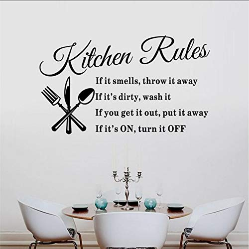 (Hjcmhjc) Diy Abnehmbare Küche Regeln Warm Brief Messer Und Gabel Muster Pvc 8203 Wandaufkleber Ausgangsdekor Wandtattoo Aufkleber 57 * 33 Cm