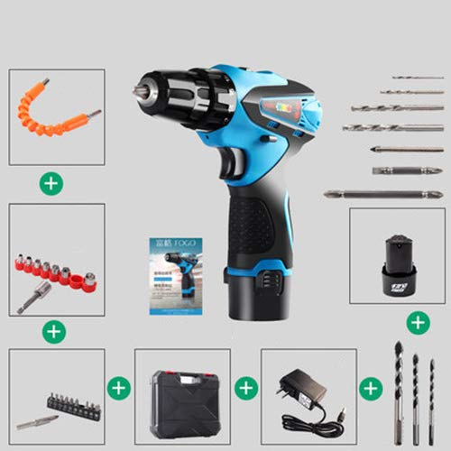 FLB Cordless Waterproof Electric Screwdriver Drill, Rechargeable 25v Lithium ion Battery Multi-Function Household Electric Impact Drill,12v1batteryplusaccessories