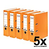 Falken PP-Color Kunststoff-Ordner 8 cm breit DIN A4 orange 5er Pack Ringordner Aktenordner Briefordner Büroordner Plastikordner Schlitzordner