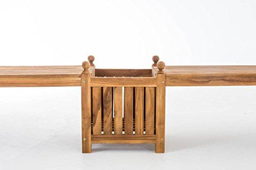 CLP Teak-Holz Gartenbank / Blumenkasten Set BALDRIAN, 2 in 1: Gartenbank + 3 Blumenkästen teak - 3