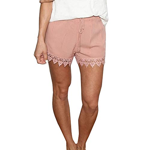 Denim-skort (Lonshell Damen Spitze Shorts Yoga Sporthosen Sommerhosen High Waist Mode Kordelzug Kurze Hose Pants mit Taillenband Elegant Hotpants Strandshorts)