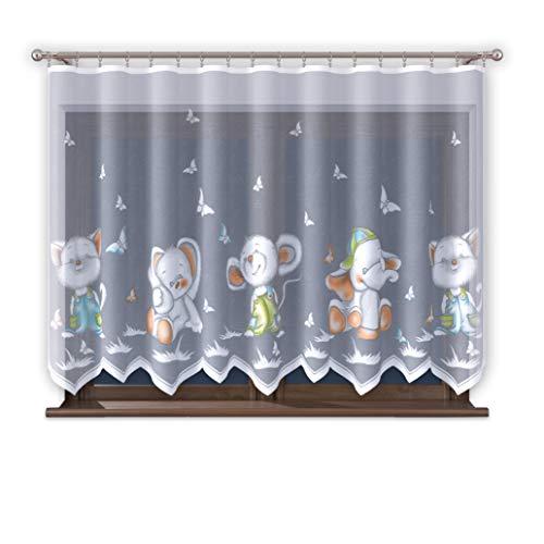 Promag - tenda con fettuccia arricciata, per cameretta bambini, motivo: ragazza, 300 cm, extra larga, motivo topolino, trasparente