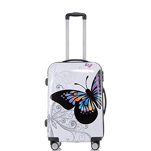 Set jusqu'á 3 Valise rigide de voyage bagage à roulettes 360° policarbonate ABS (L, Papillon)