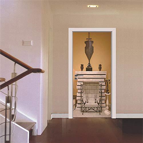 Classic Tür (QTJKH 3D Türaufkleber 3D Wandvinyldiy Tür Aufkleber Decal Style Classic Kamin Tür Wasserdicht Wandtattoos Schlafzimmer Wohnheim)