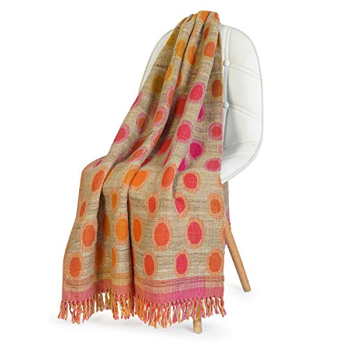 NEERU KUMAR Polka Dots Throw Blanket Wool/Silk Soft and Stylish Luxurious 50X70 inch - Pink/Orange/Beige (Throw 50 70 X Blanket)