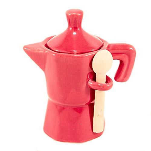lefantasiedicasa.com Zuccheriera a Forma di Moka caffettiera Rossa Barattolo in Ceramica con cucchiaino in Legno.