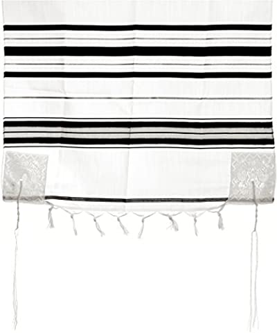 Acrylic Tallit Prayer Shawl with Tzitzit, Black and Silver Stripes, 190 x 140 centimetres
