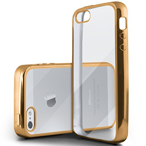 iPhone 5S Hülle Silikon Transparent Gold [OneFlow Chrom Back-Cover] Silikonhülle Dünn Schutzhülle Handyhülle für iPhone 5/5S/SE Case Ultra-Slim Tasche TPU