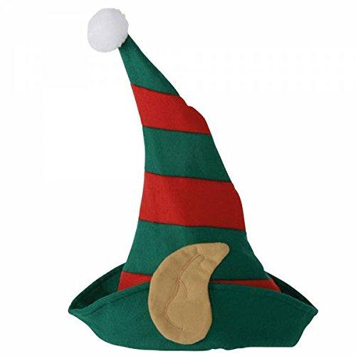 Weihnachtsmütze Wichtel mit Ohren - rot grün gestreift - onesize - 5er ()