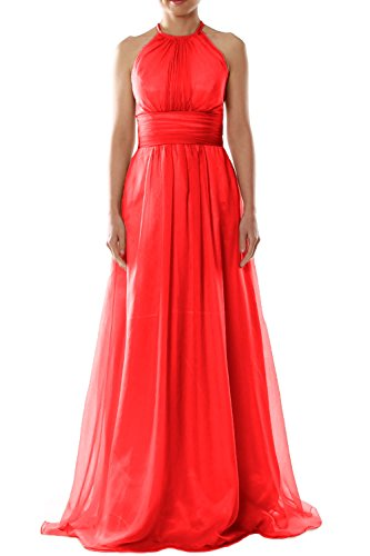 MACloth Women Halter Chiffon Long Bridesmaid Dress Wedding Party Evening Gown red