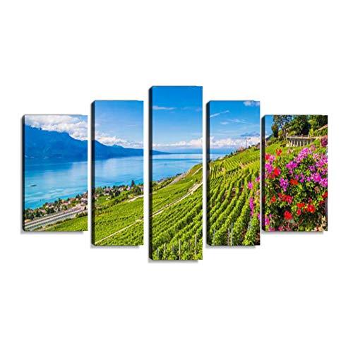 Inbel Kunst Region Lavaux Wein auf den Genfer See, Schweiz Wandbilder abstrakt Leinwandbild Digitalkunstdruck leinwanddrucke Eigenes Design lgemlde Wanddekoration mit Holzrahmen 5-teilig