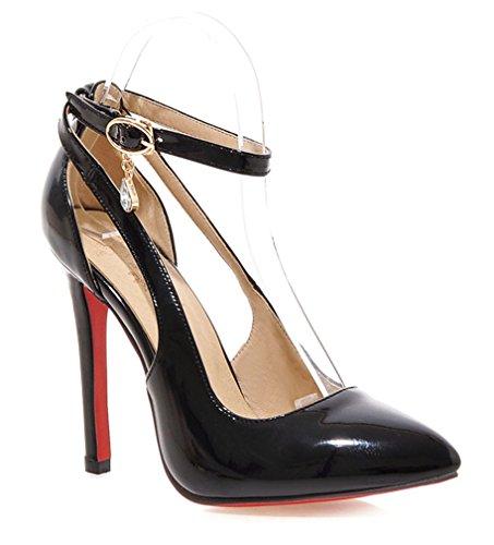 YE Damen Lack High Heels Spitze Rote Sohle Pumps mit Knöchelriemchen und Stiletto Modern Schnalle Partyschuhe/Brautschuhe Schwarz(11cm heels)