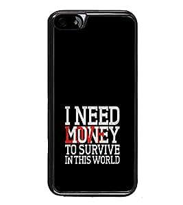 PrintVisa Designer Back Case Cover for Apple iPhone 6 Plus :: Apple iPhone 6+ (Money Over Love Quote Survive World Black Case)
