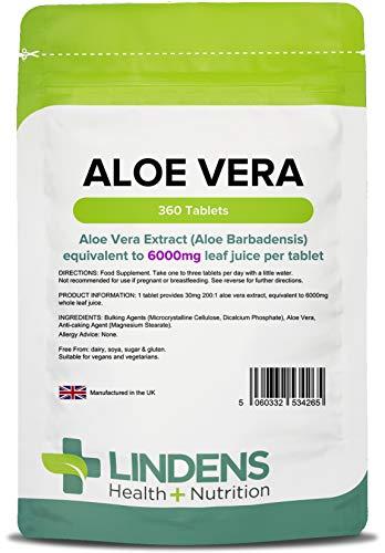 Lindens Aloe Vera 6000 mg Tabletten   360 Verpackung   Konzentrierter Extrakt, entspricht 6000 mg des Saftes aus Aloe Vera-Blättern - Aloe Vera Tabletten
