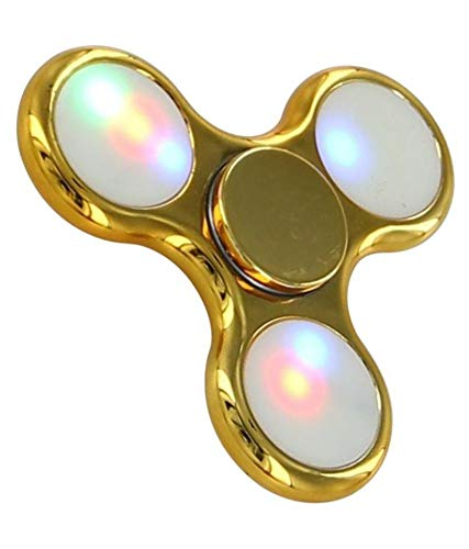 Colorful Fidget Stress Reducer Anti Anxiety Full Metal Body Hand Wind Spinner with Light for Children and Adults with Long Spinning Time (Gold)