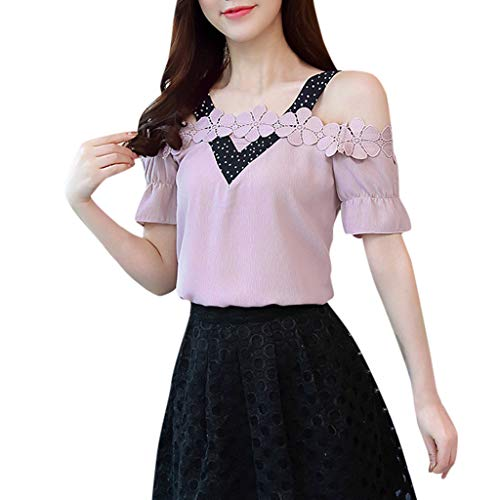 CUTUDE Damen T Shirt, Bluse Kurzarm Sommer Frauen Freizeit Kurzarm Slash Neck Lace Patchwork Crop Top (Rosa, Large)
