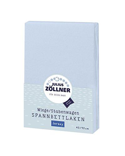 Julius Zöllner 8330013350 Jersey Spannbetttuch für Wiegen 90x40 und Stubenwagen, Farbe: hellblau